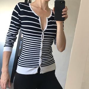 Forever 21 navy and white striped cardigan